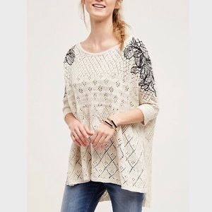 Anthro Knitted & Knotted Embroidered Launa Poncho